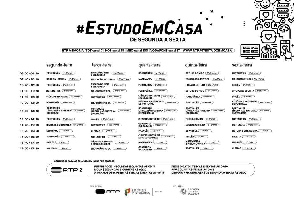Grelha semanal #EstudoEmCasa